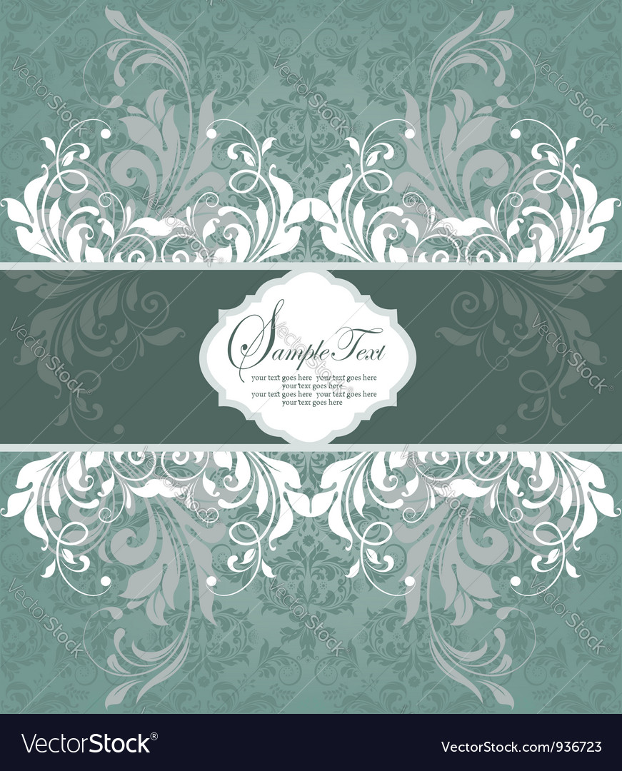 Vintage styled card with floral ornament backgroun vector | Price: 1 Credit (USD $1)