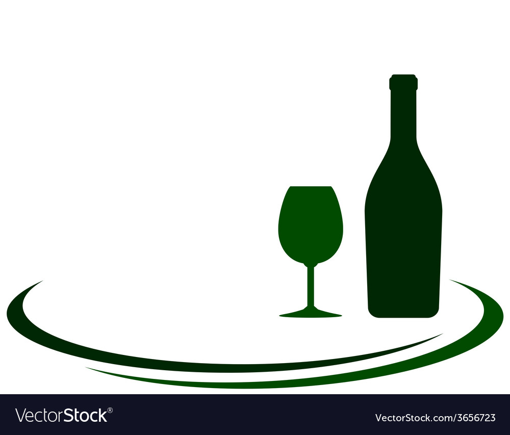 Wine bottle with glass and place for text vector | Price: 1 Credit (USD $1)