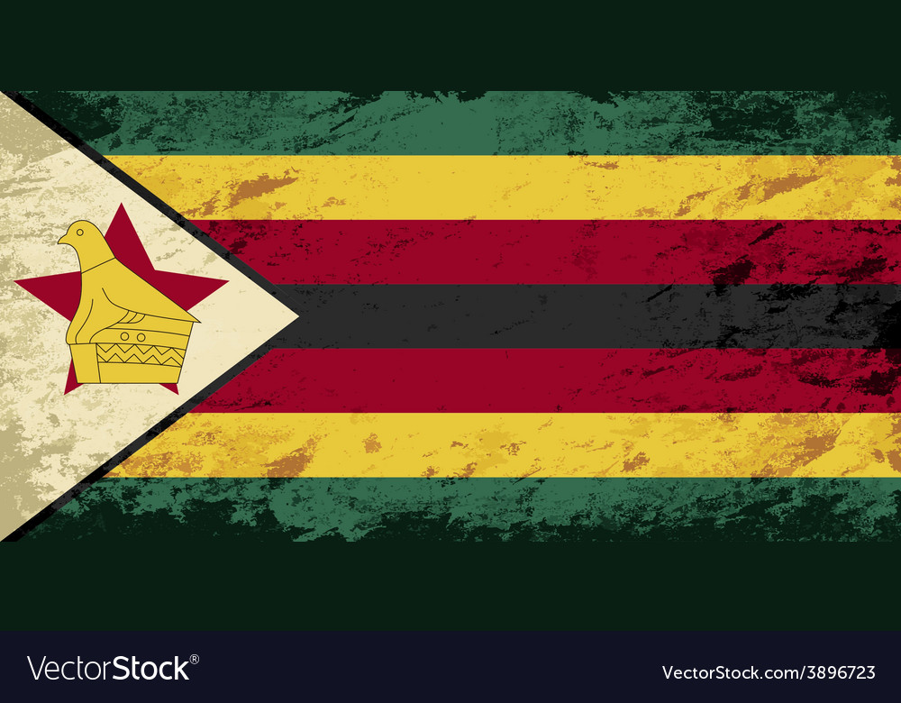 Zimbabwean flag grunge background vector | Price: 1 Credit (USD $1)