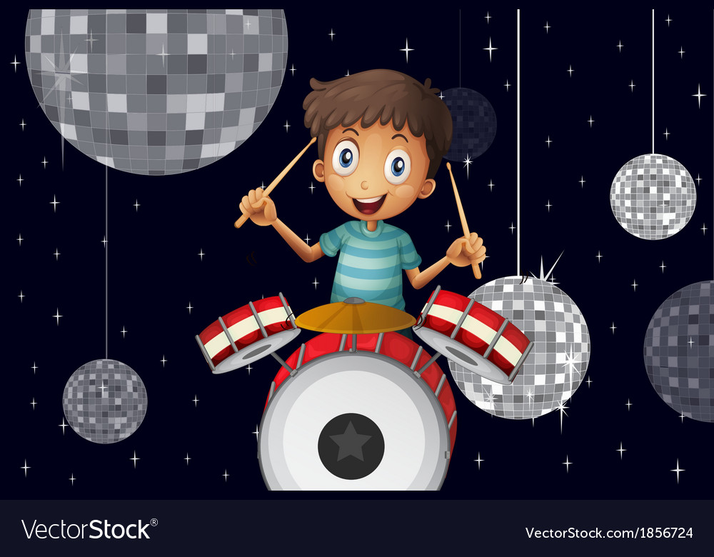 A young drummer at the disco house vector | Price: 3 Credit (USD $3)