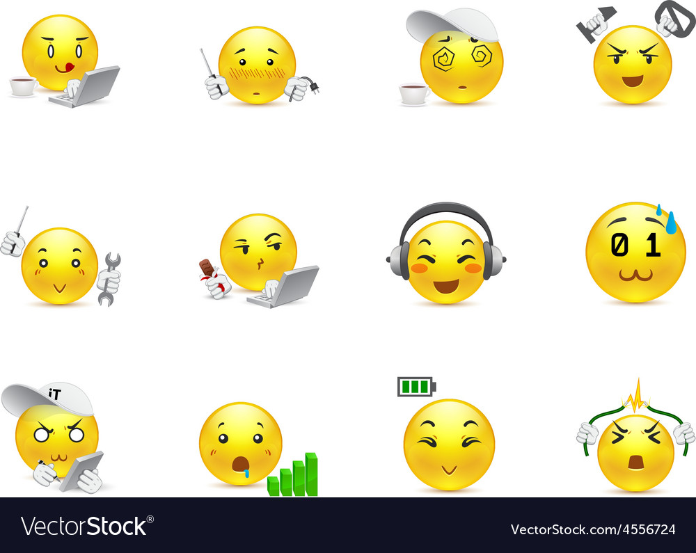 Anime smilies it system vector | Price: 1 Credit (USD $1)