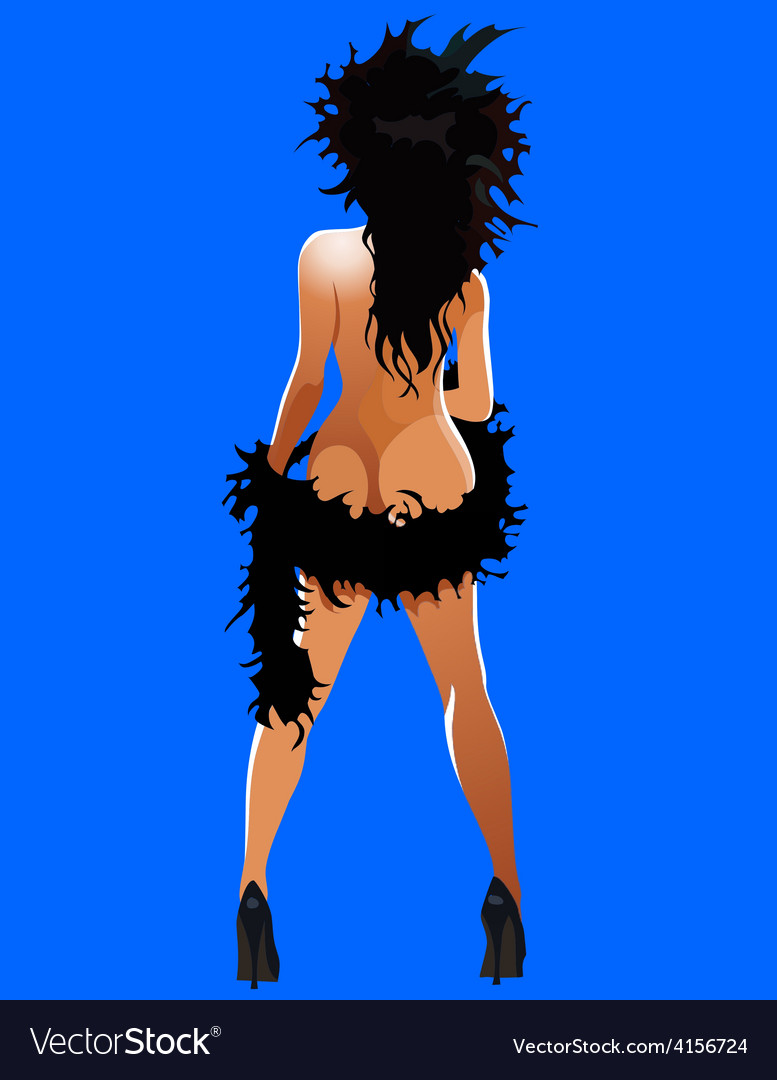 Cartoon girl in a black boa naked standing vector | Price: 3 Credit (USD $3)