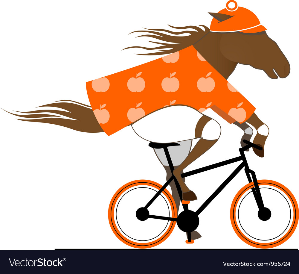Dappled horse riding a bicycle vector | Price: 1 Credit (USD $1)