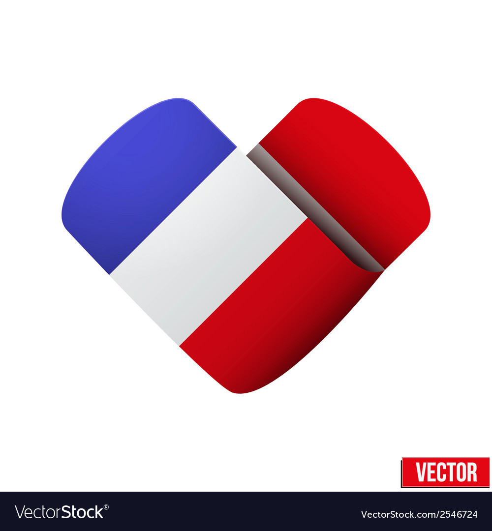 Flag icon in the form of heart i love france vector | Price: 1 Credit (USD $1)