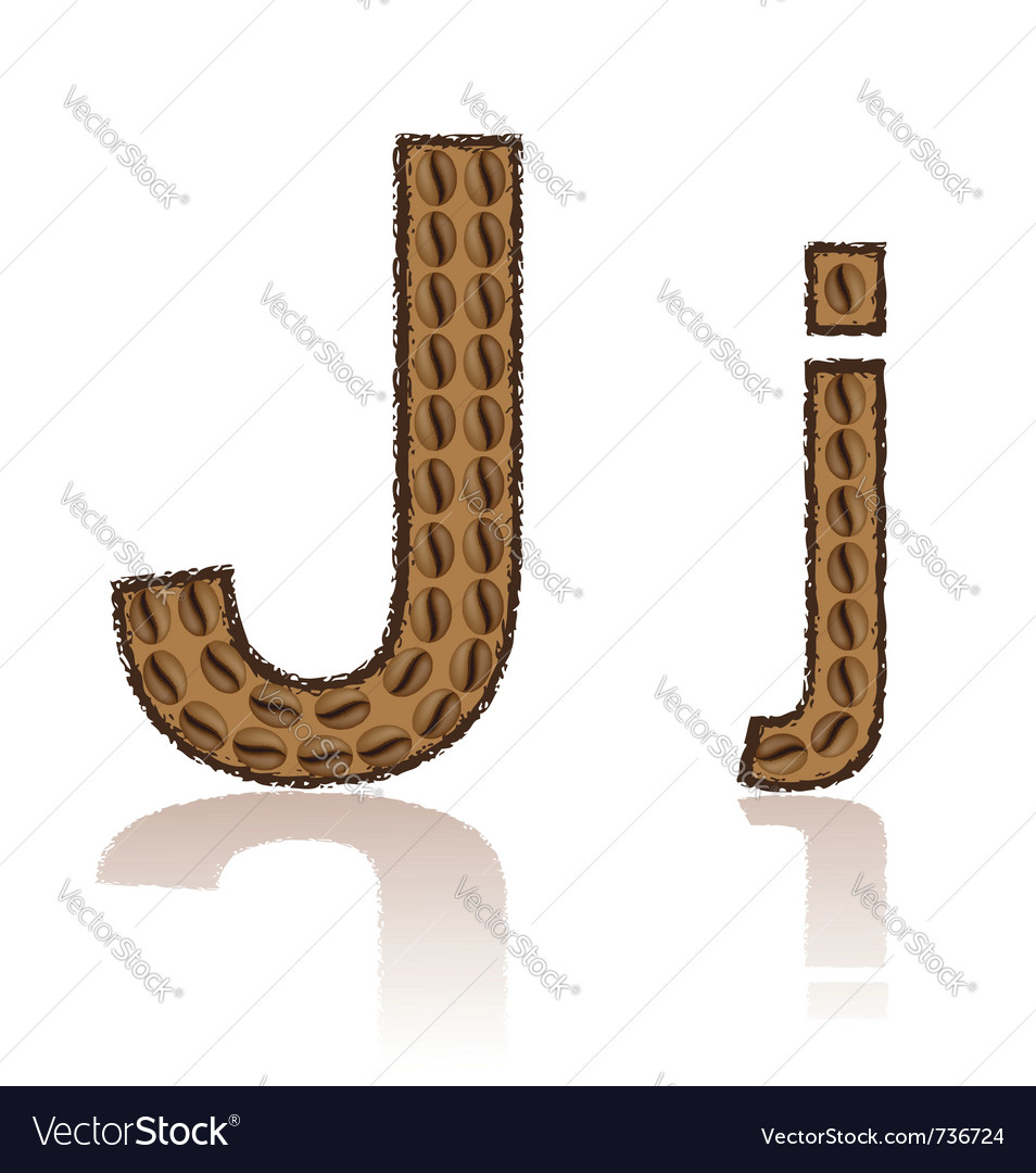 Letter j is made grains of coffee isolated on whit vector | Price: 1 Credit (USD $1)
