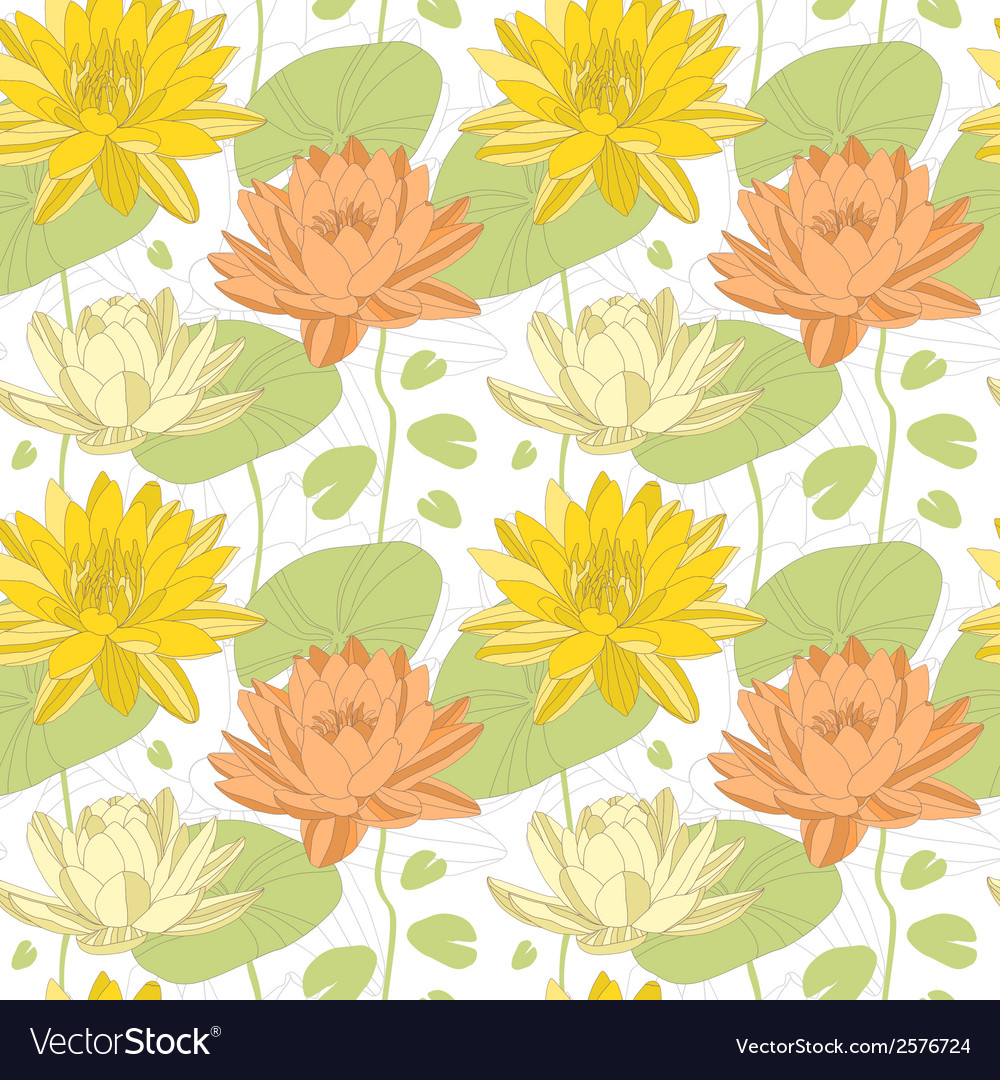 Lotus flowers in seamless pattern vector | Price: 1 Credit (USD $1)