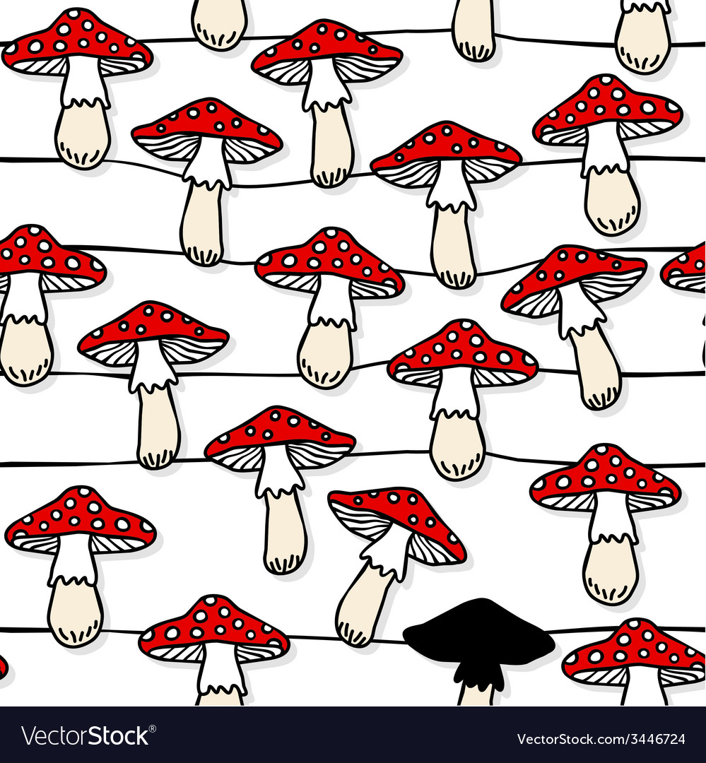 Mushroom pattern design vector | Price: 1 Credit (USD $1)