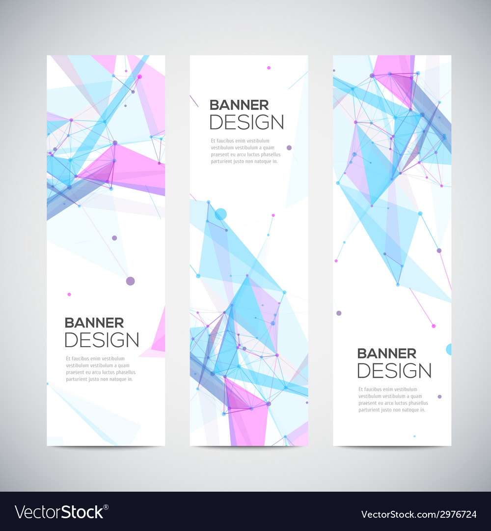 Vertical banners set with polygonal abstract vector | Price: 1 Credit (USD $1)