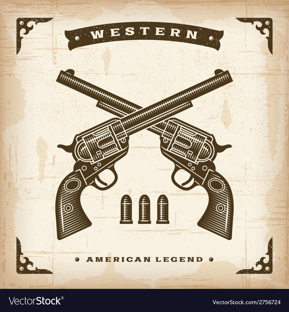 Vintage western revolvers vector | Price: 1 Credit (USD $1)