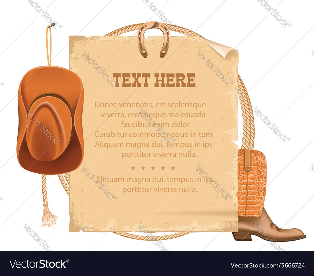 Western cowboy hat and american lasso old paper vector | Price: 1 Credit (USD $1)