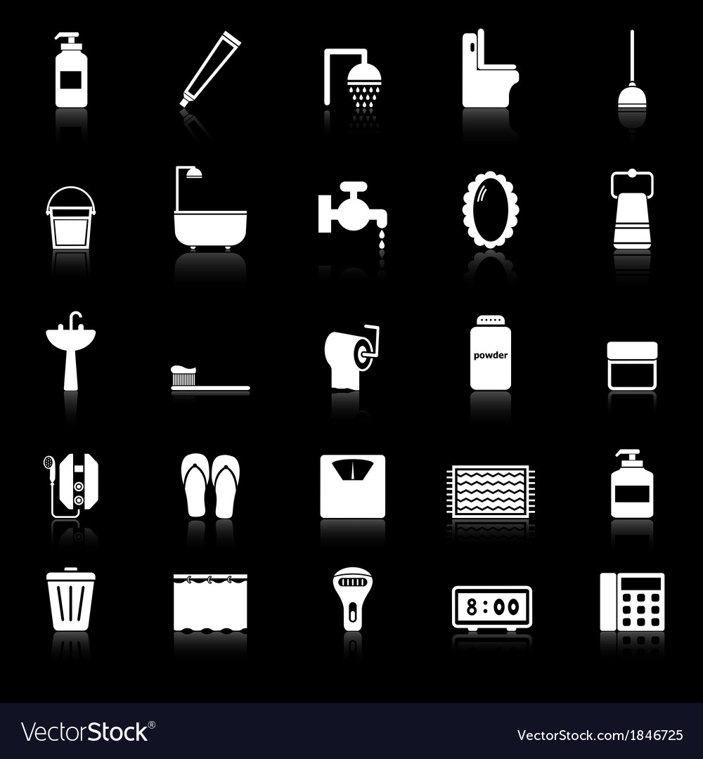 Bathroom icons with reflect on black background vector | Price: 1 Credit (USD $1)