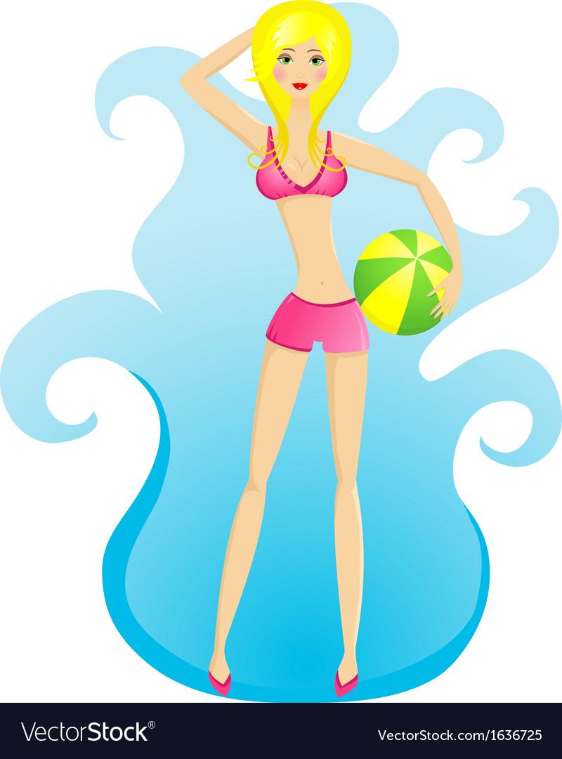 Beach girl vector | Price: 1 Credit (USD $1)