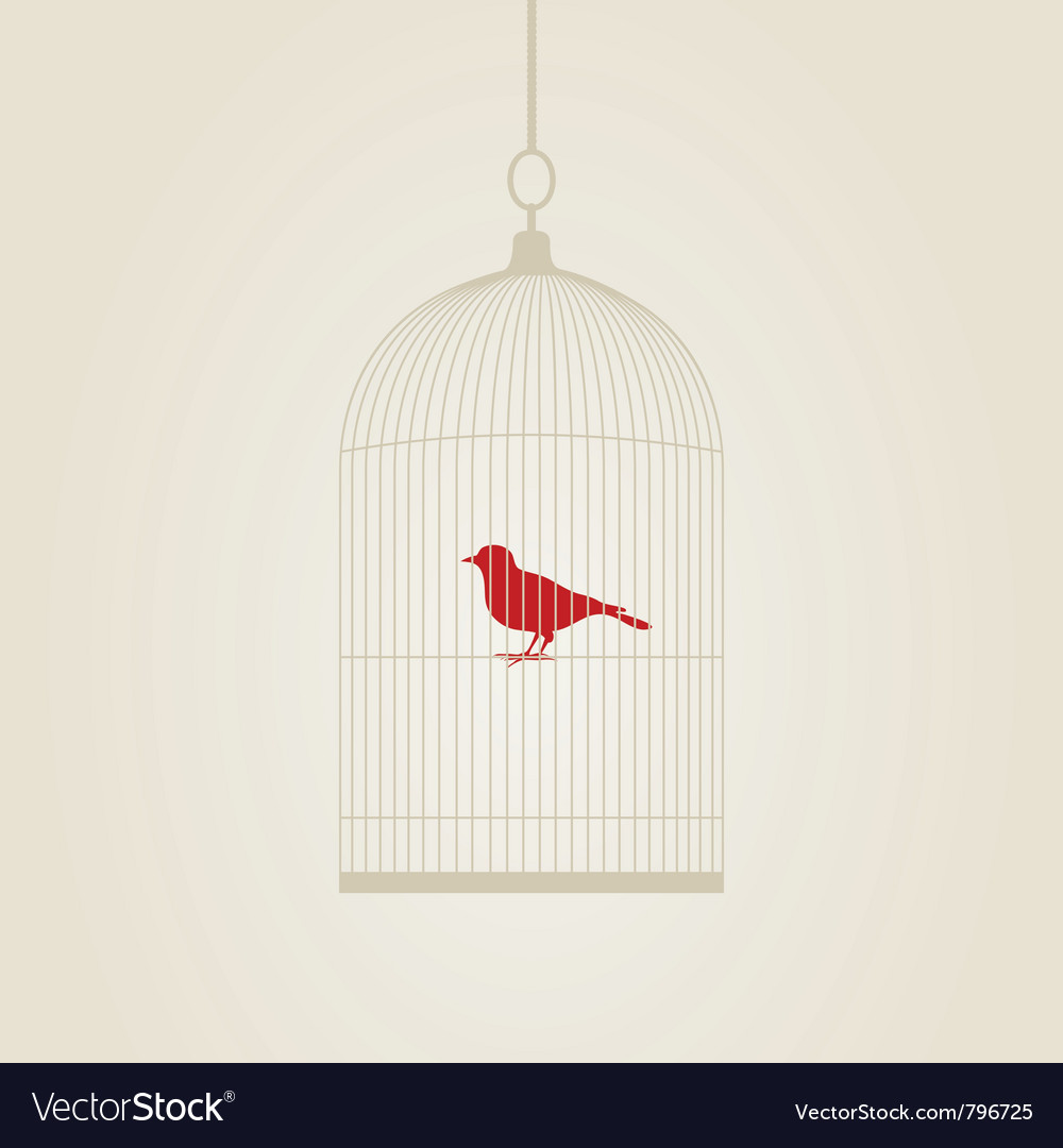 Bird in a cage vector | Price: 1 Credit (USD $1)