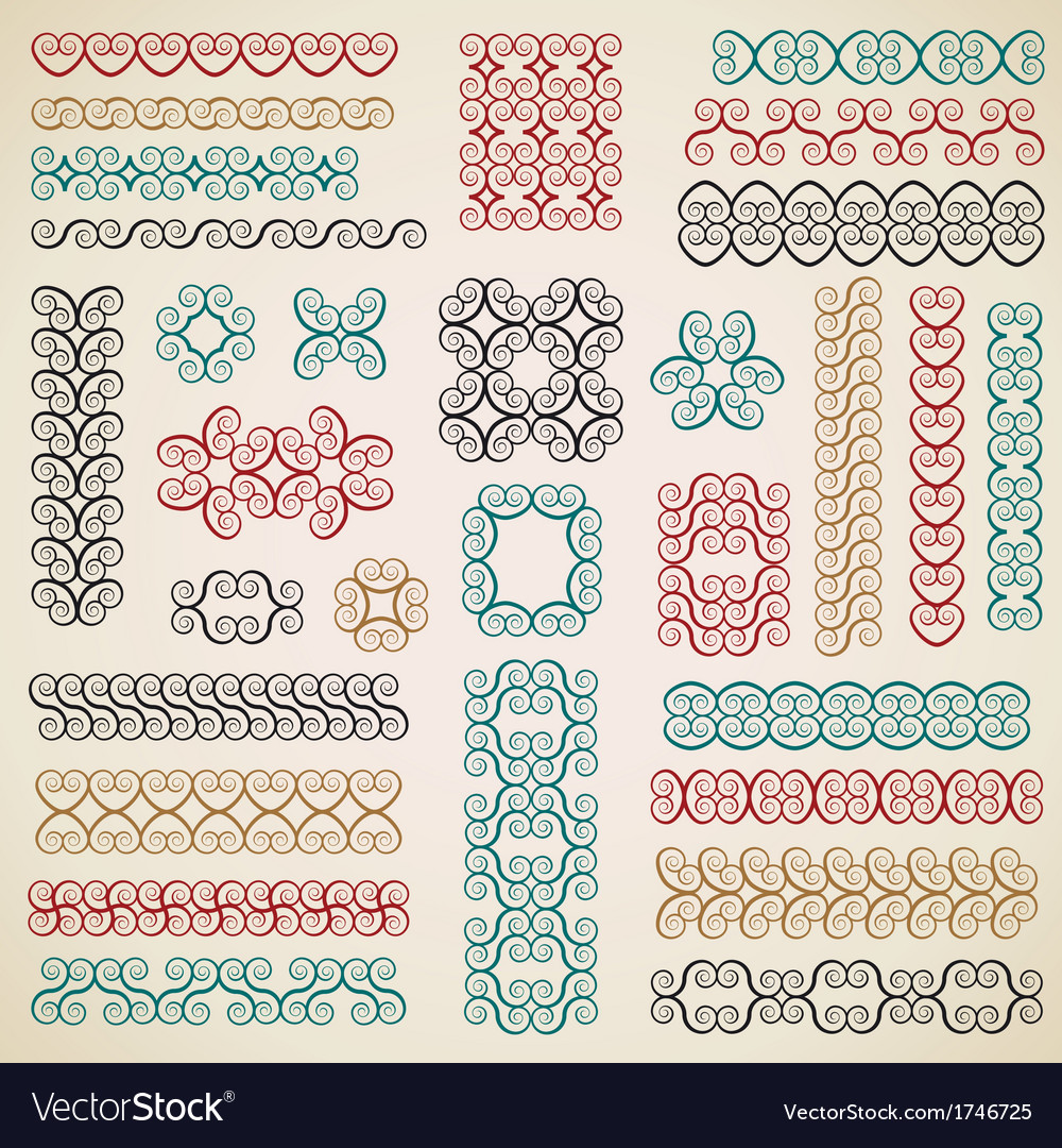 Border design elements set vector | Price: 1 Credit (USD $1)