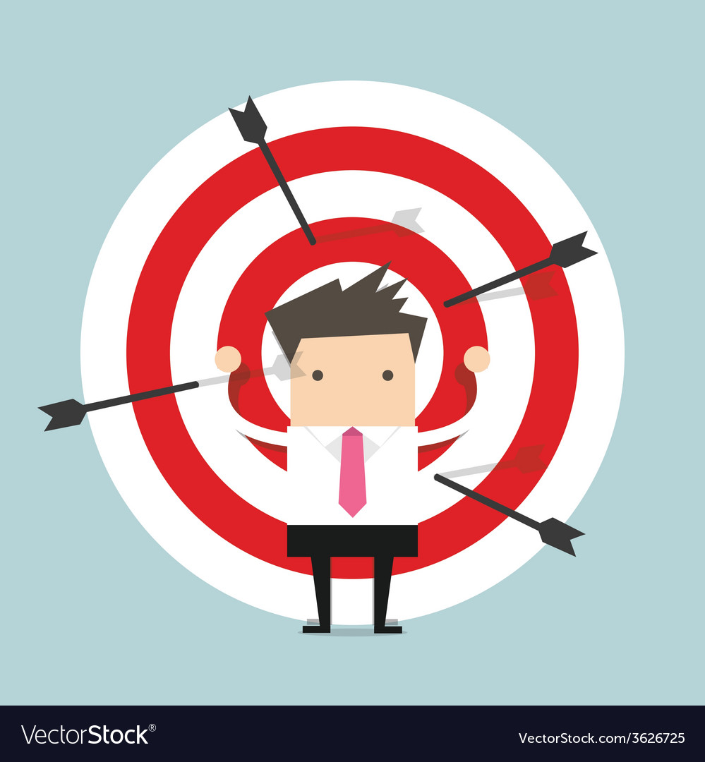 Businessman on archery targets vector | Price: 1 Credit (USD $1)
