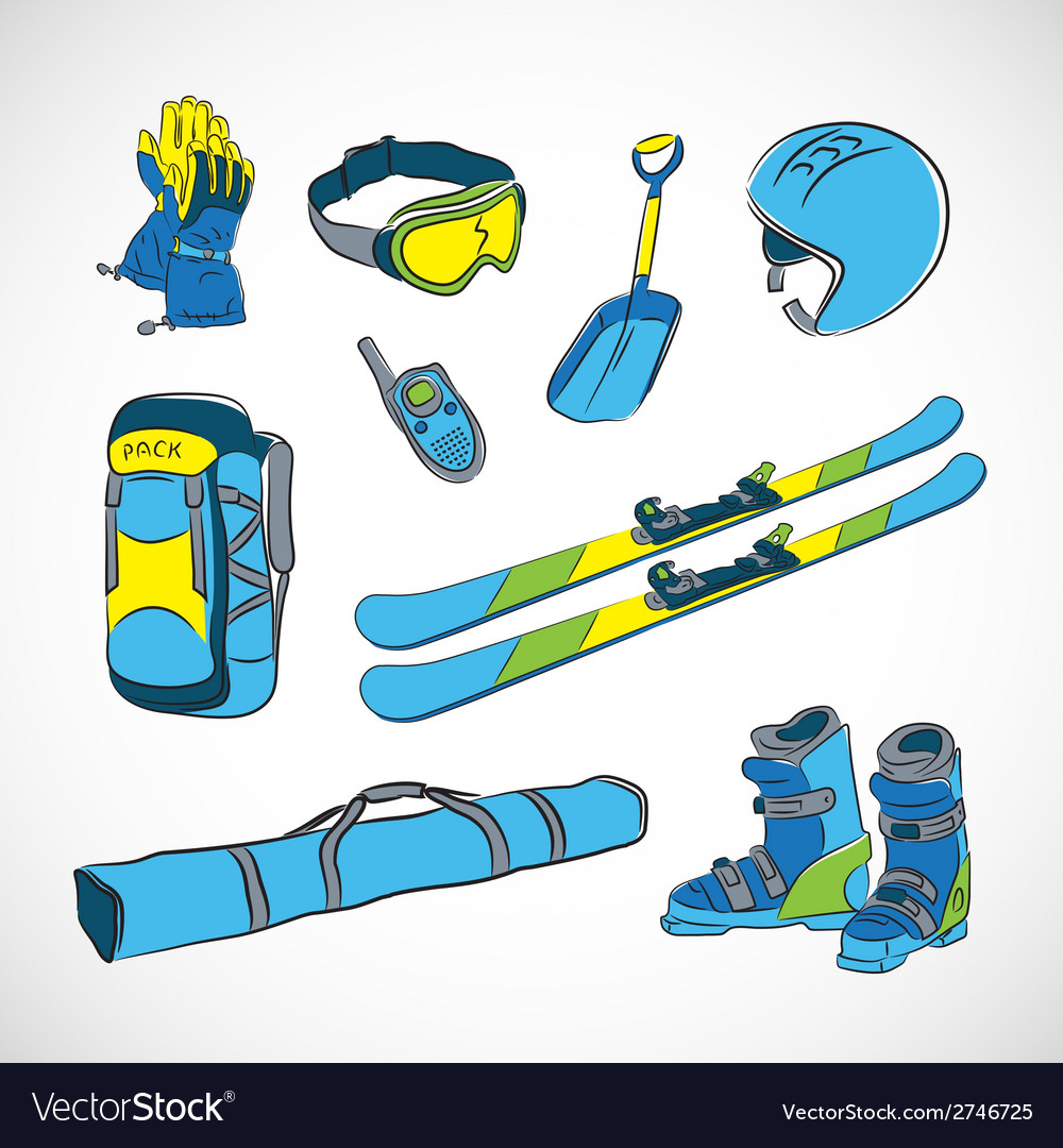Handdrawn colorfull ski icon set vector | Price: 1 Credit (USD $1)