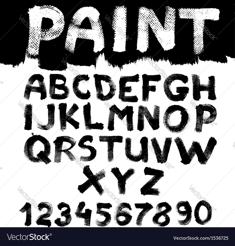 Hand-drawn font on textured paper with paint vector   Price: 1 Credit (USD $1)