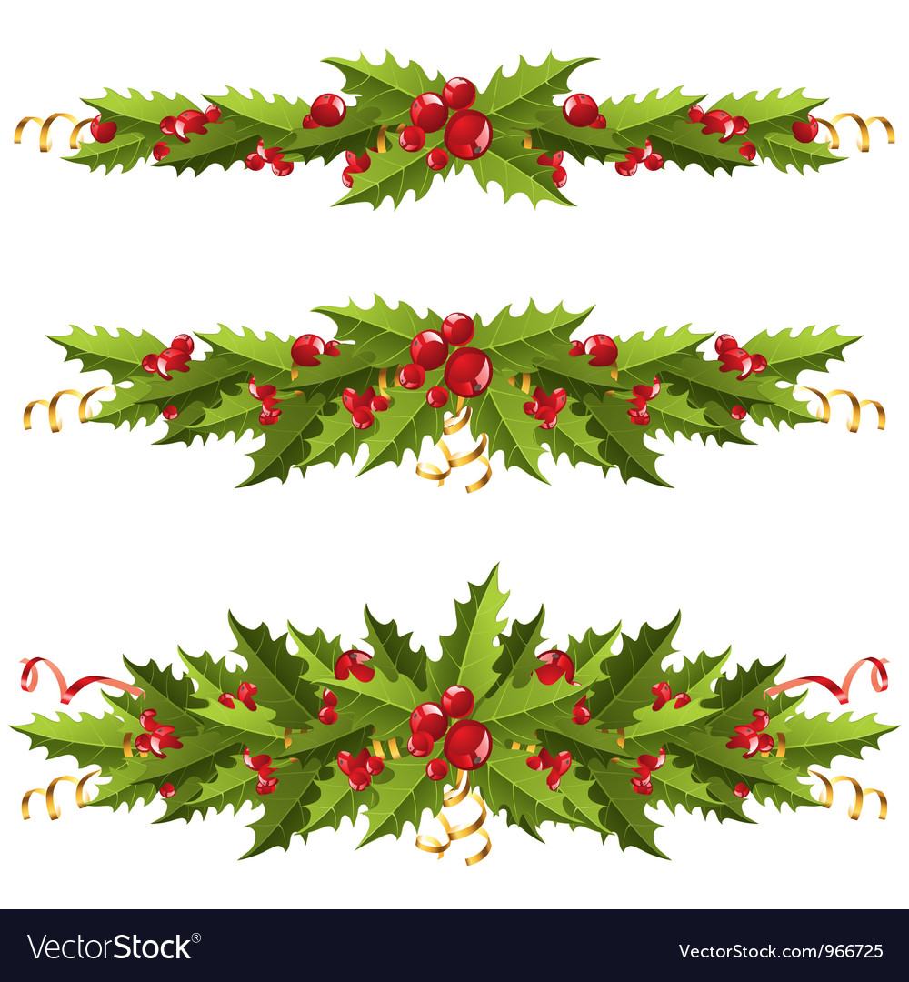 Holly berry borders vector | Price: 3 Credit (USD $3)