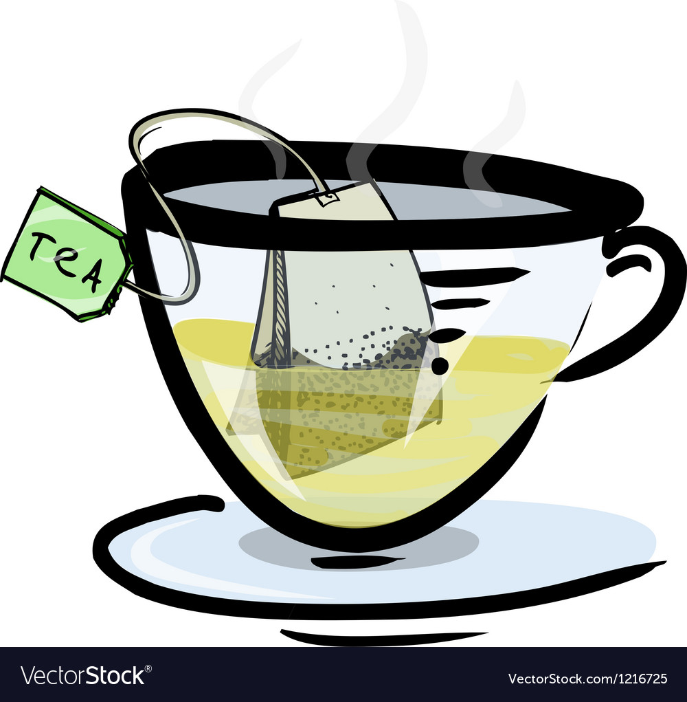 Hot green tea in a glass cup vector | Price: 1 Credit (USD $1)