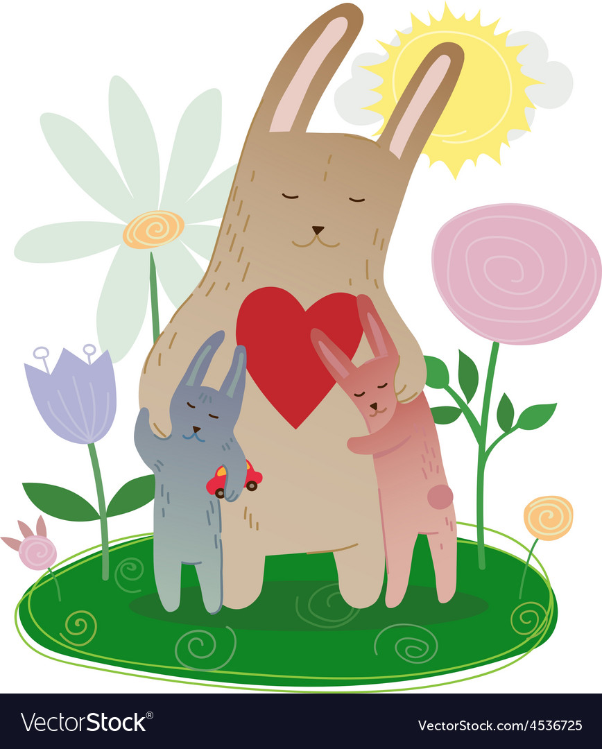 Mothers day mom hugging its leverets bunny drawn vector | Price: 1 Credit (USD $1)