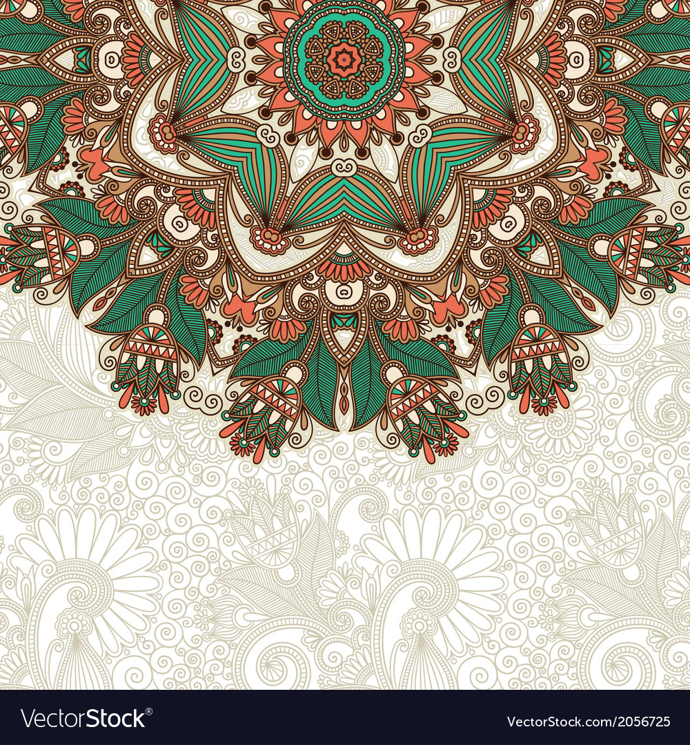 Ornate card with circle ornamental floral pattern vector   Price: 1 Credit (USD $1)