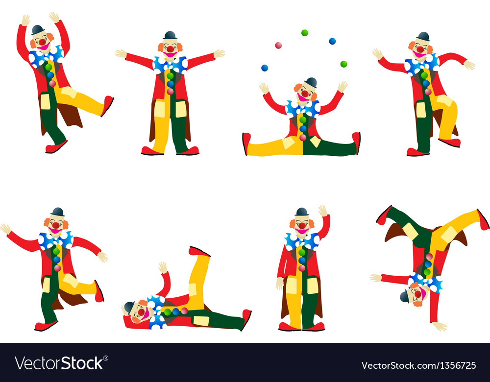 Performing clowns set vector | Price: 1 Credit (USD $1)