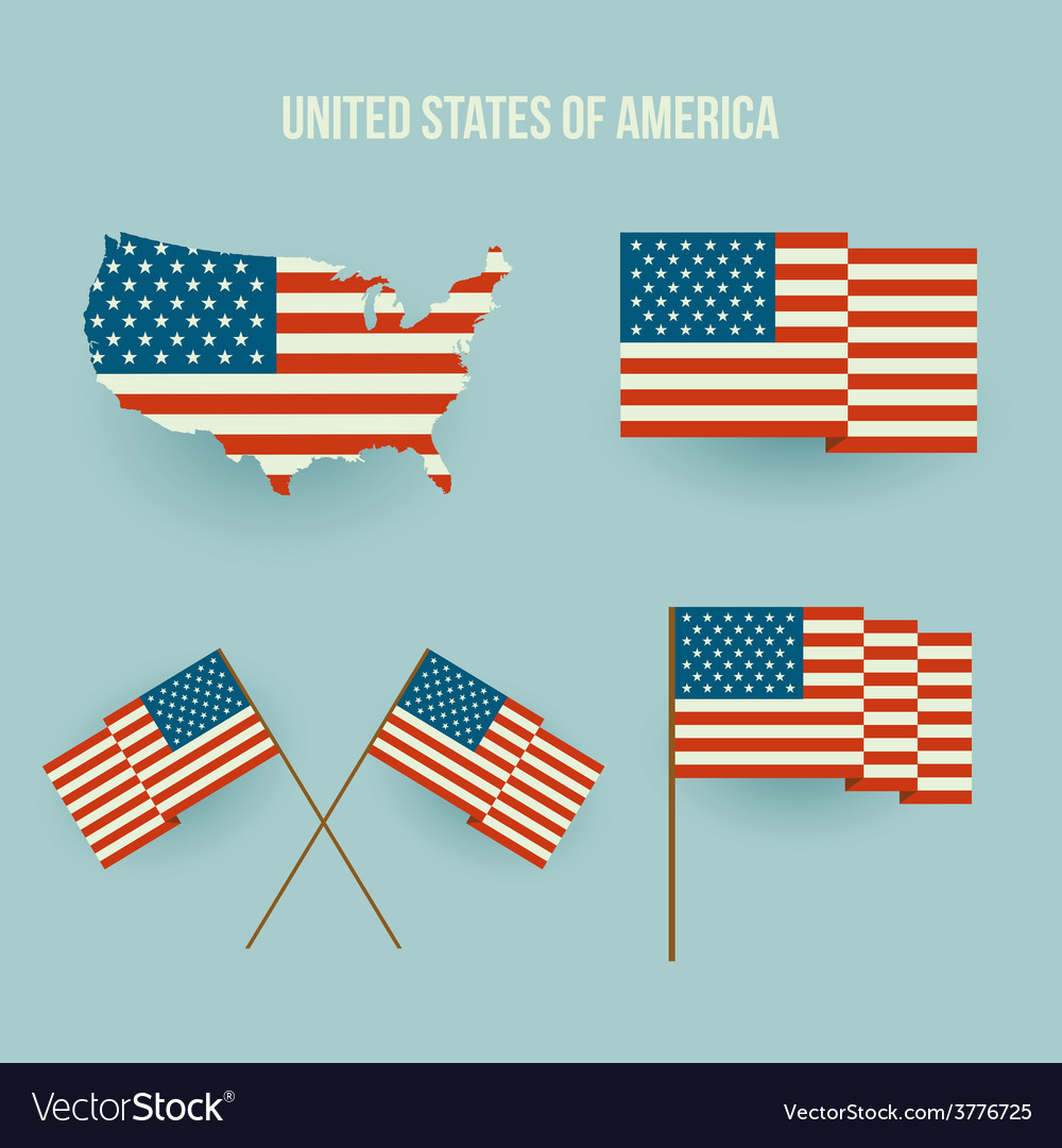 Set of american flag and map flat design vector | Price: 1 Credit (USD $1)