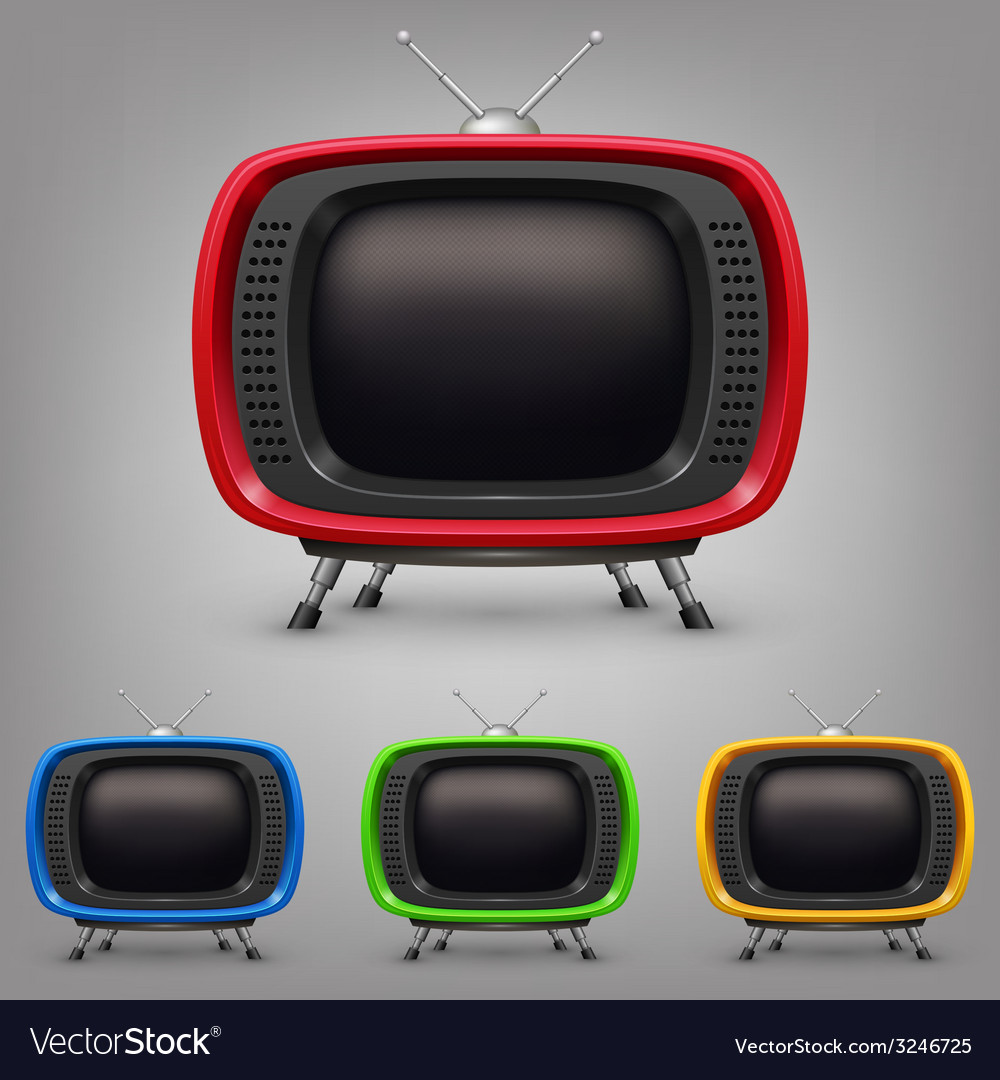 Set retro color tv vector | Price: 1 Credit (USD $1)
