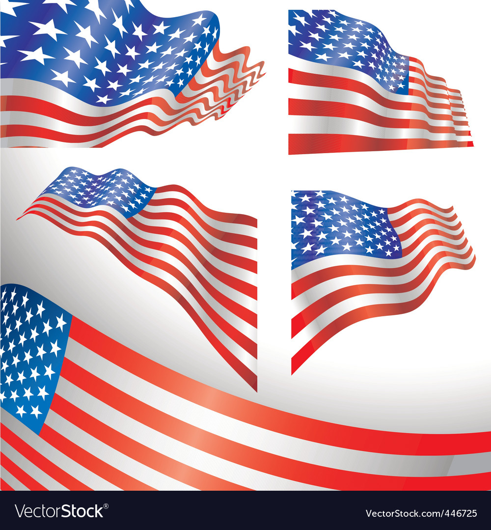 Usa windy flags vector | Price: 1 Credit (USD $1)