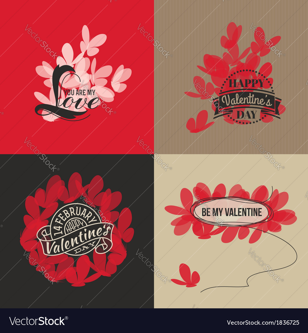 Valentines day cards with butterflies vector   Price: 1 Credit (USD $1)