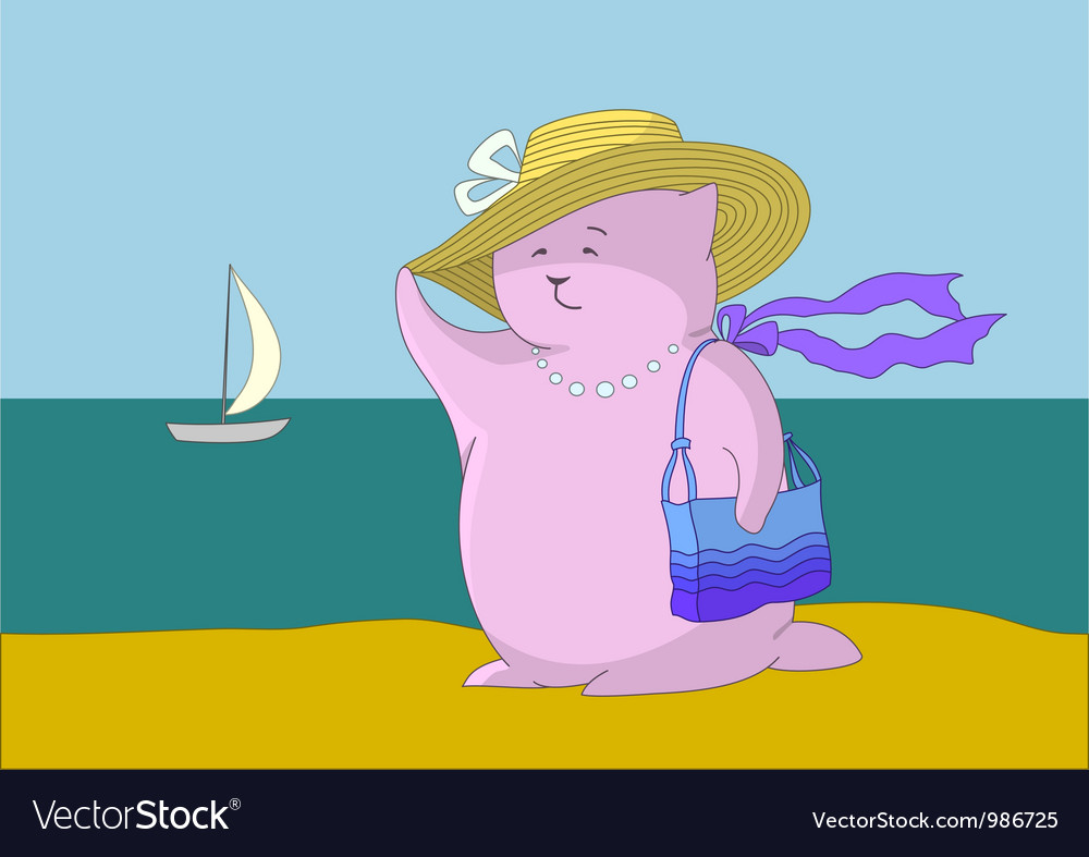 Woman - a fantastic toy animal on the beach vector   Price: 1 Credit (USD $1)