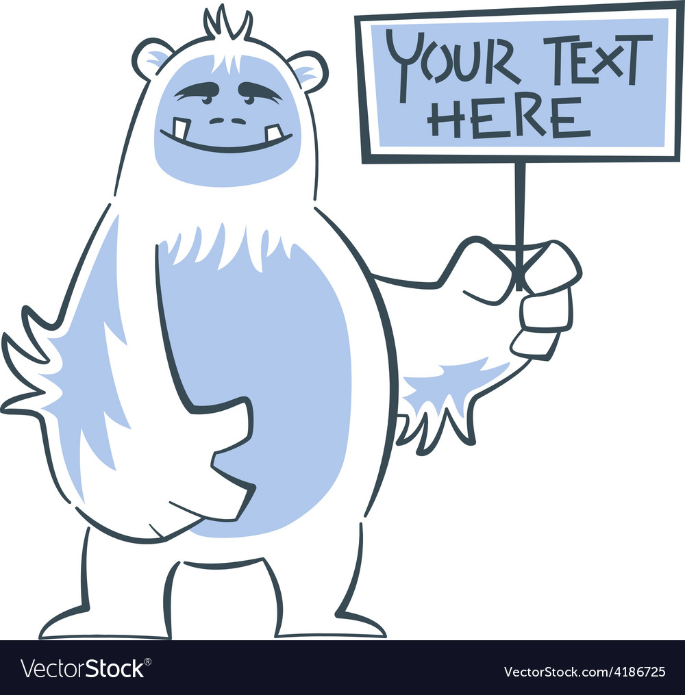 Yeti holding sign vector | Price: 1 Credit (USD $1)