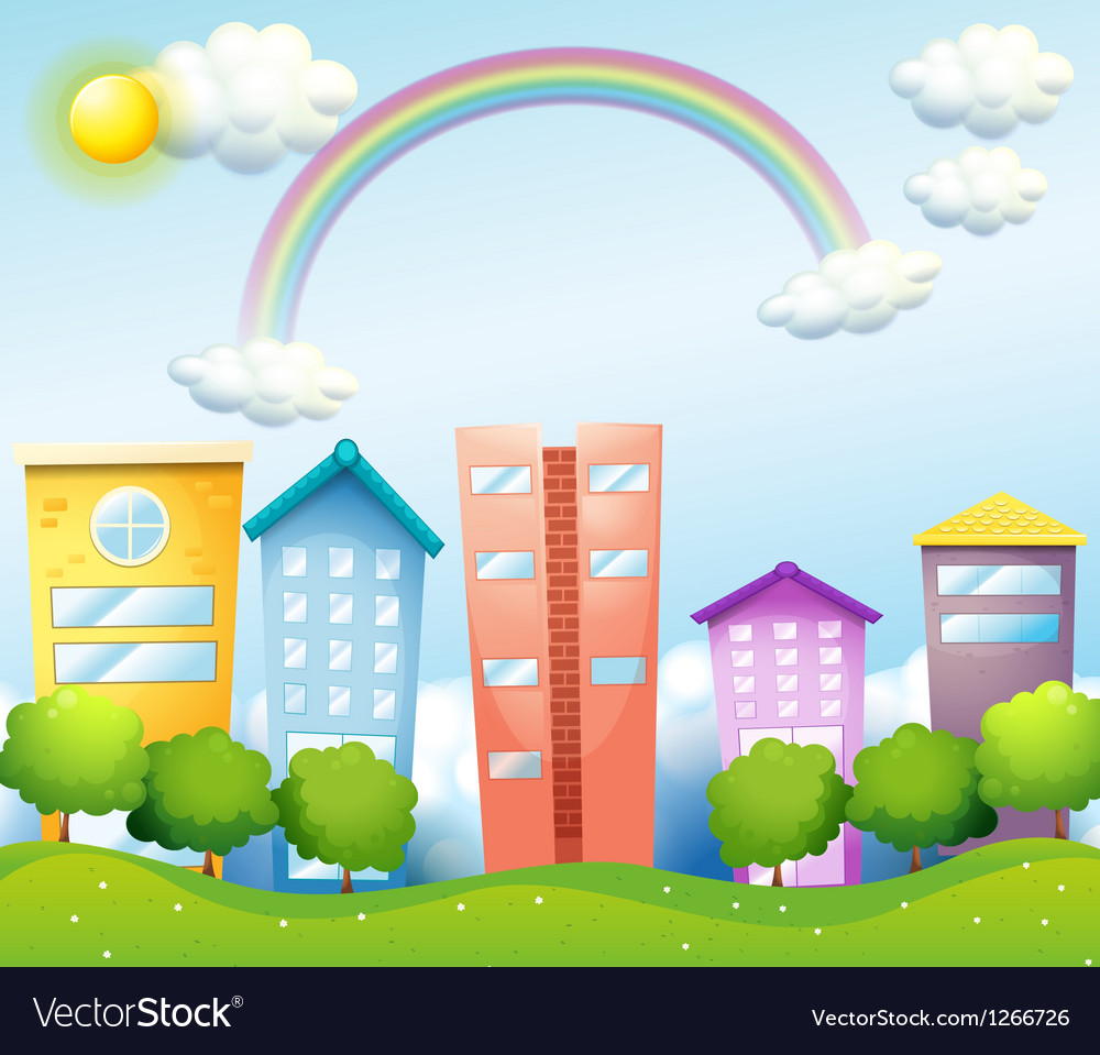 A rainbow above the tall buildings vector | Price: 1 Credit (USD $1)