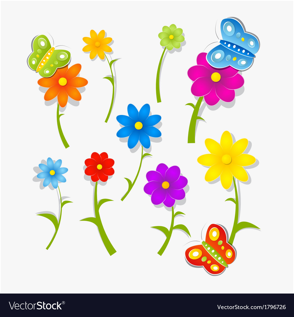 Abstract colorful flowers and butterflies isolated vector | Price: 1 Credit (USD $1)