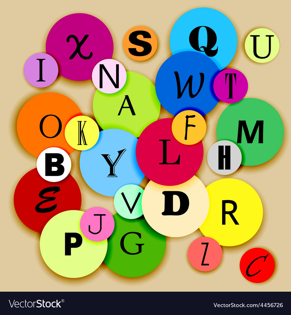 Alphabet on multicolor circles vector | Price: 1 Credit (USD $1)