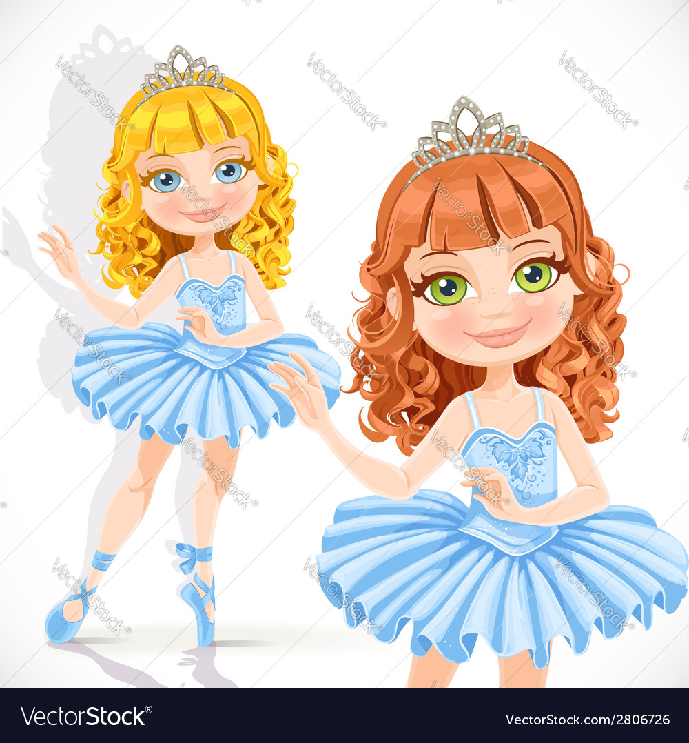 Beautiful little ballerina girl in tiara and blue vector | Price: 3 Credit (USD $3)