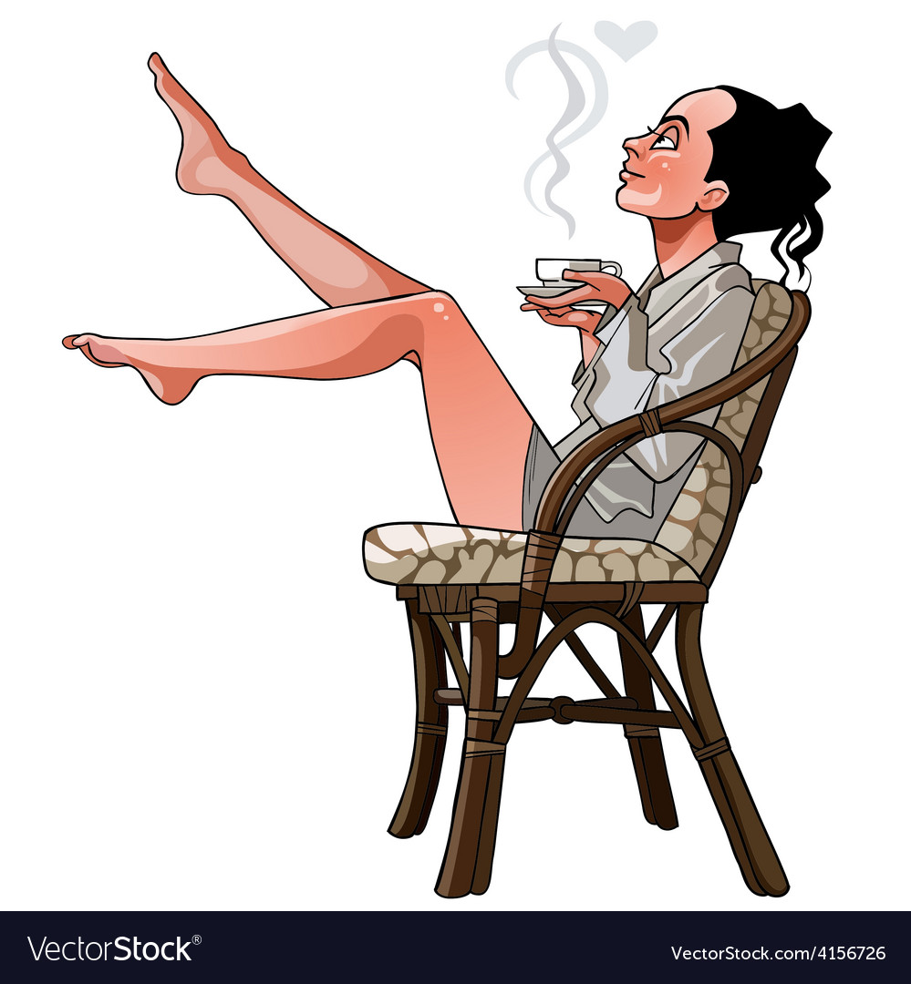 Cartoon girl sitting on a chair holding a cup vector | Price: 3 Credit (USD $3)