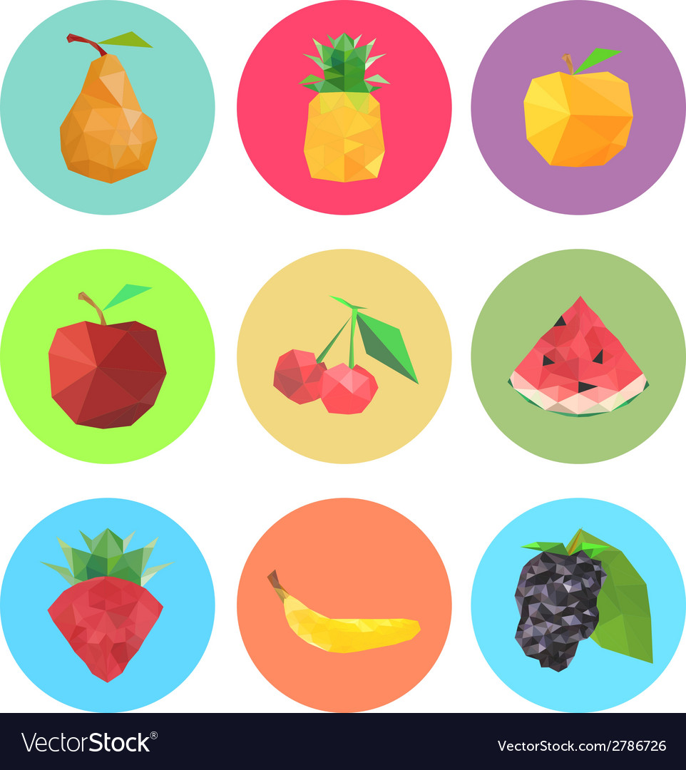 Collection of abstract origami fruits vector | Price: 1 Credit (USD $1)