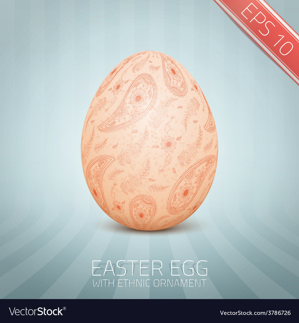 The easter egg with a floral pattern ornament vector   Price: 1 Credit (USD $1)