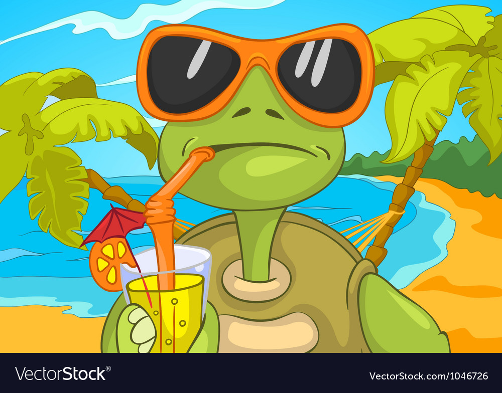 Funny turtle drinking cocktail vector | Price: 3 Credit (USD $3)