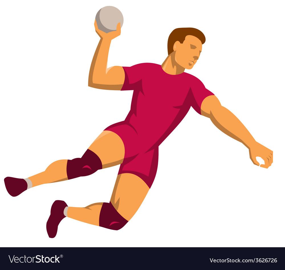 Handball player jumping retro vector | Price: 1 Credit (USD $1)