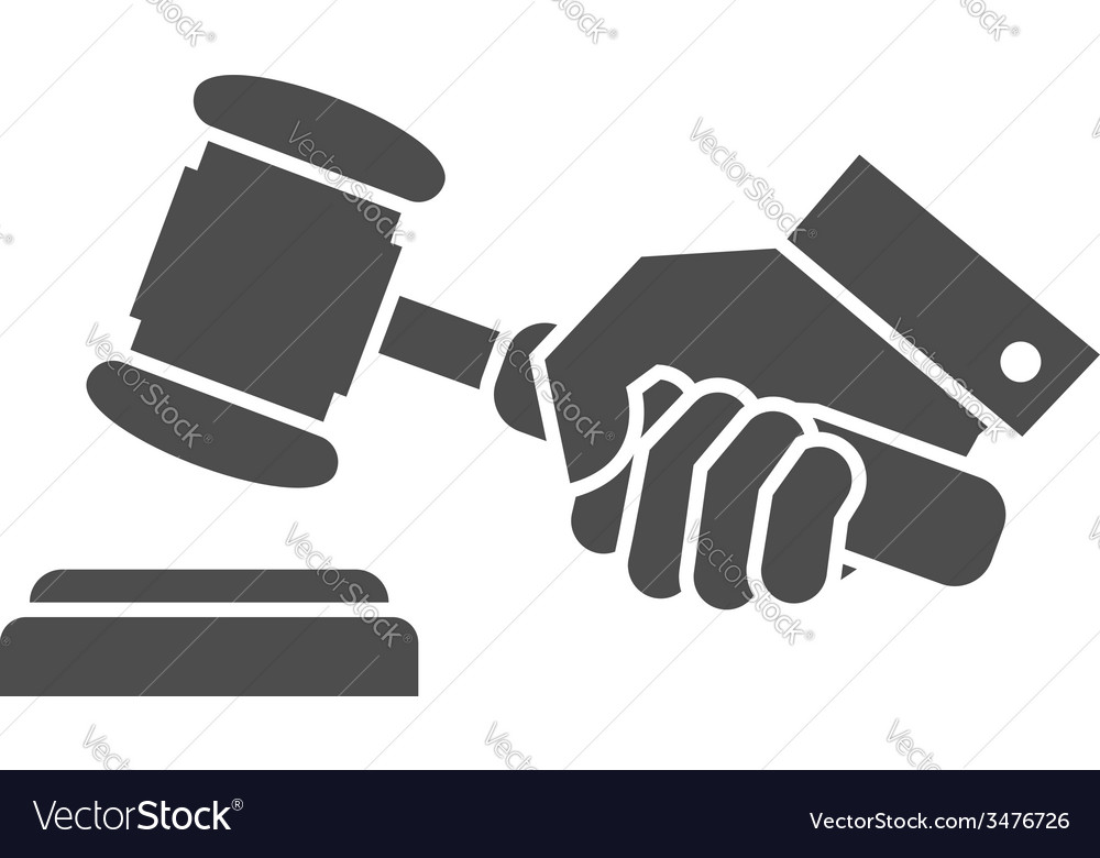 Judge gavel in hand black and white icon vector | Price: 1 Credit (USD $1)