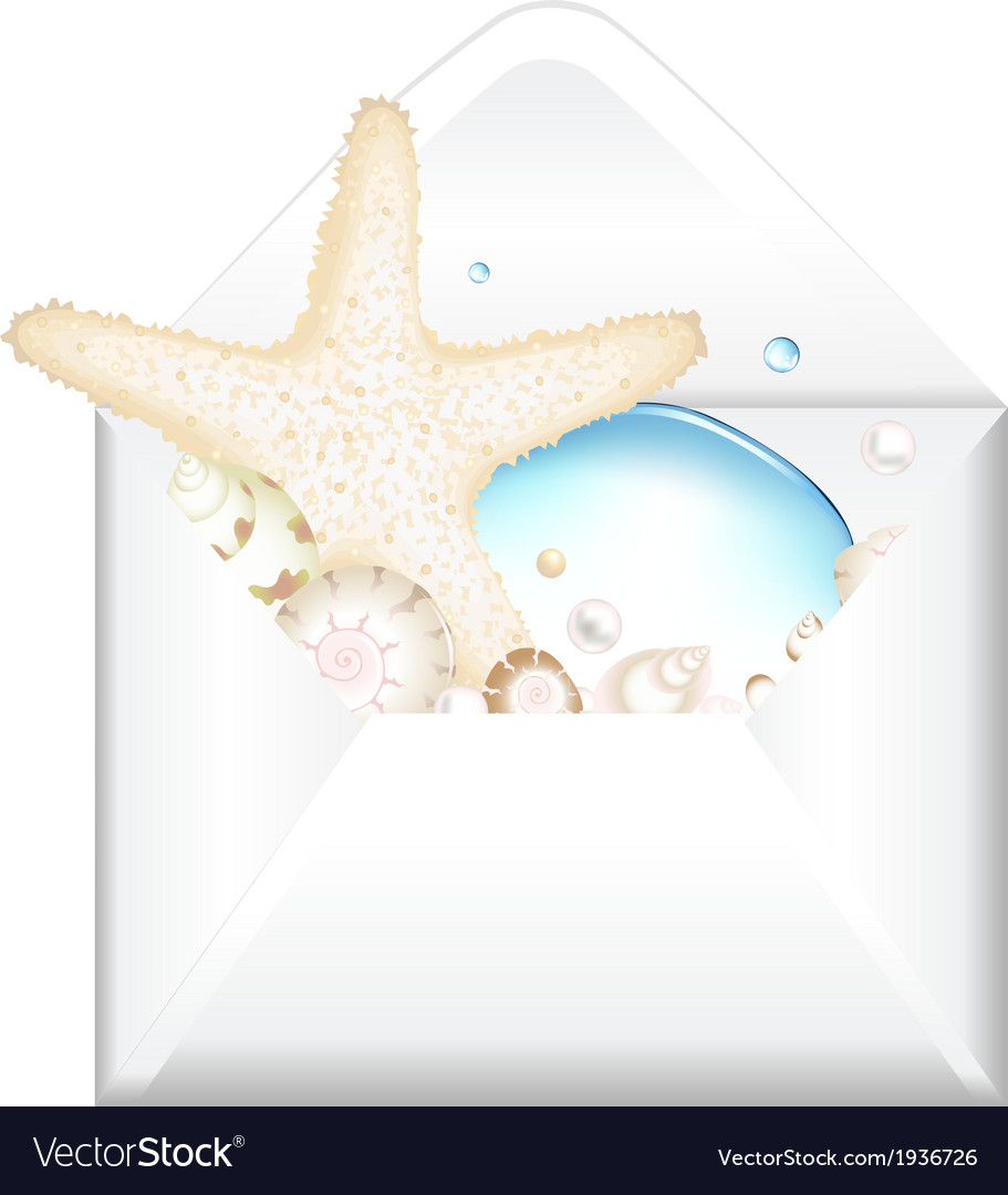 Open envelope with starfish vector | Price: 1 Credit (USD $1)