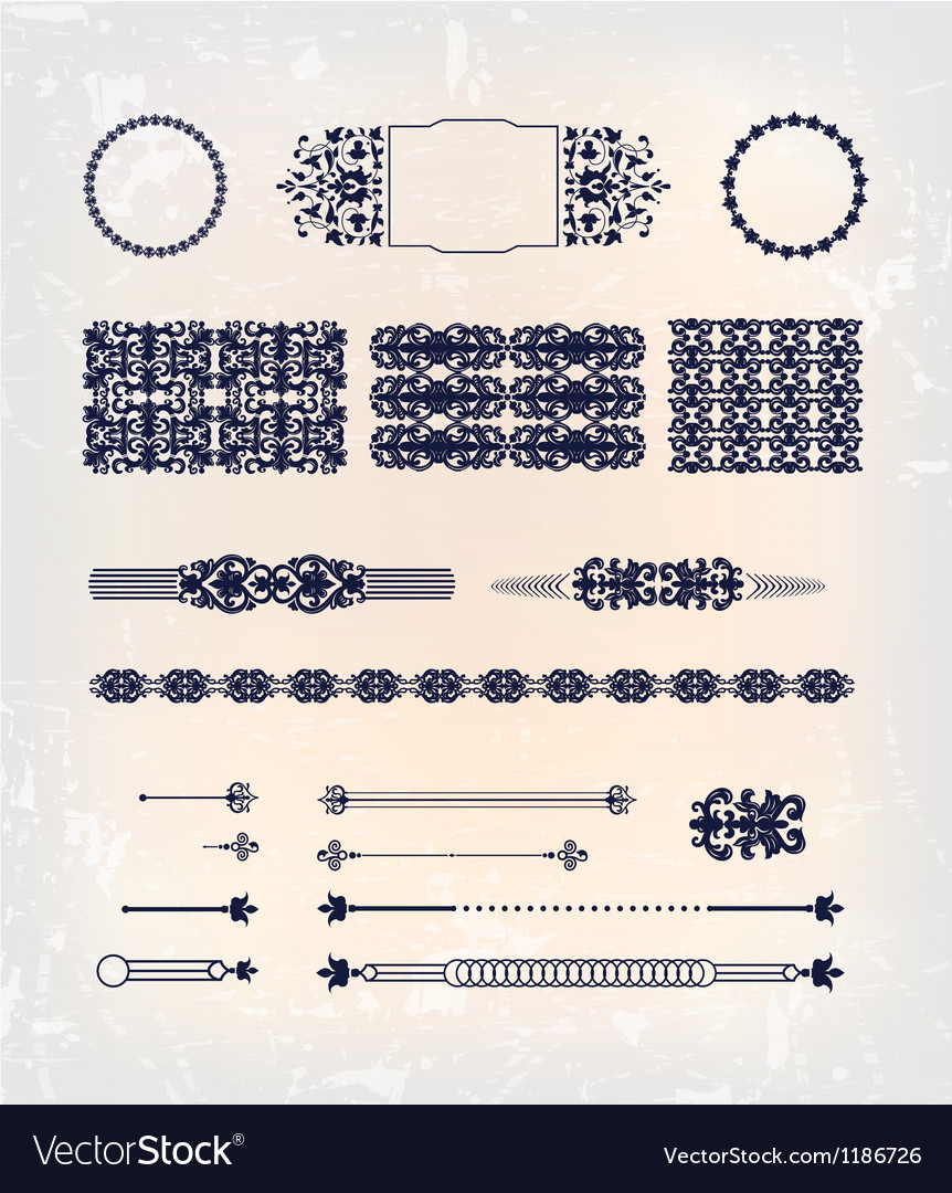 Set of abstract baroque pattern design vector | Price: 1 Credit (USD $1)