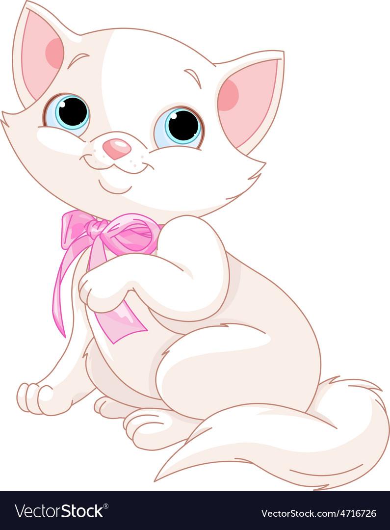 White kitten vector   Price: 3 Credit (USD $3)