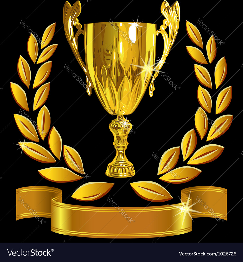 Winning gold cup laurel wreath and ribbon vector | Price: 3 Credit (USD $3)
