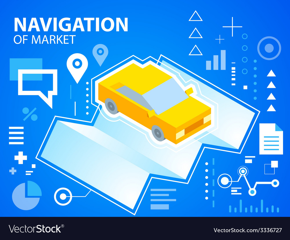 Bright navigate map and car on blue backgrou vector | Price: 3 Credit (USD $3)