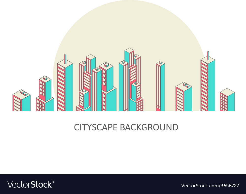 Cityscape background architecture isometric style vector | Price: 1 Credit (USD $1)