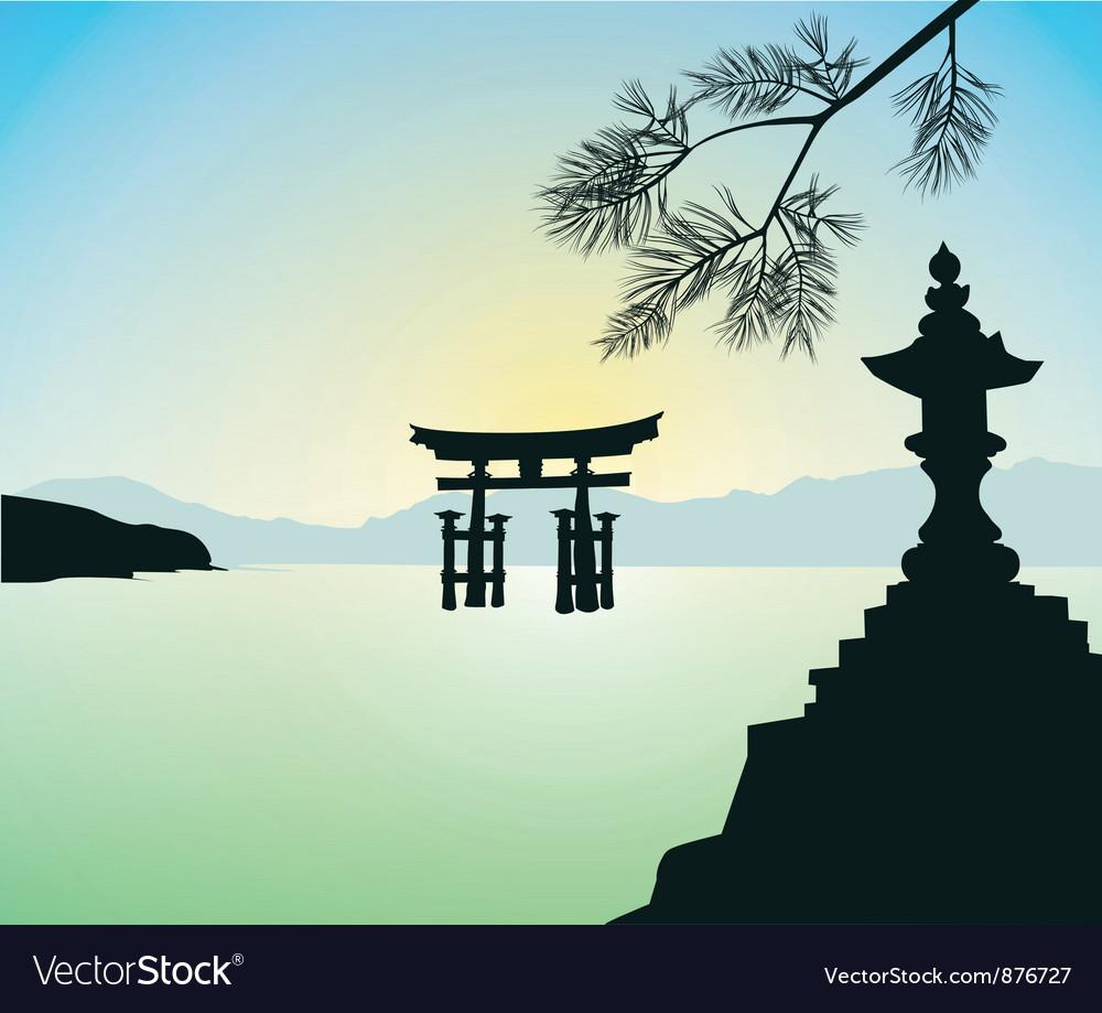 The floating otorii gate at miyajima vector | Price: 1 Credit (USD $1)