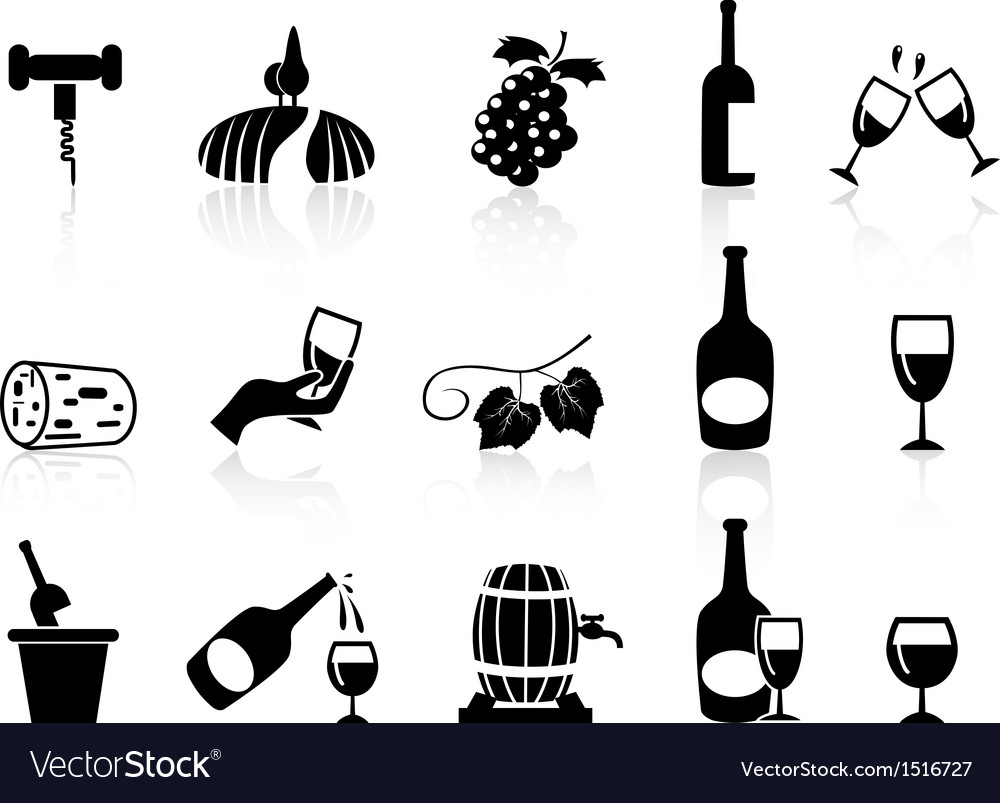 Grape wine icons set vector | Price: 1 Credit (USD $1)